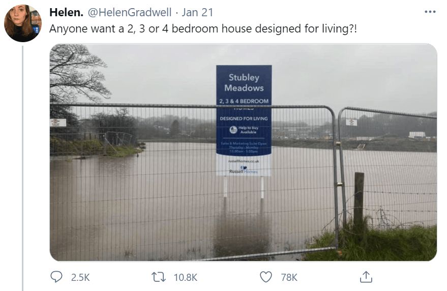 The truth behind a viral image of a housing estate in Rochdale 'flooded' during Storm Christoph